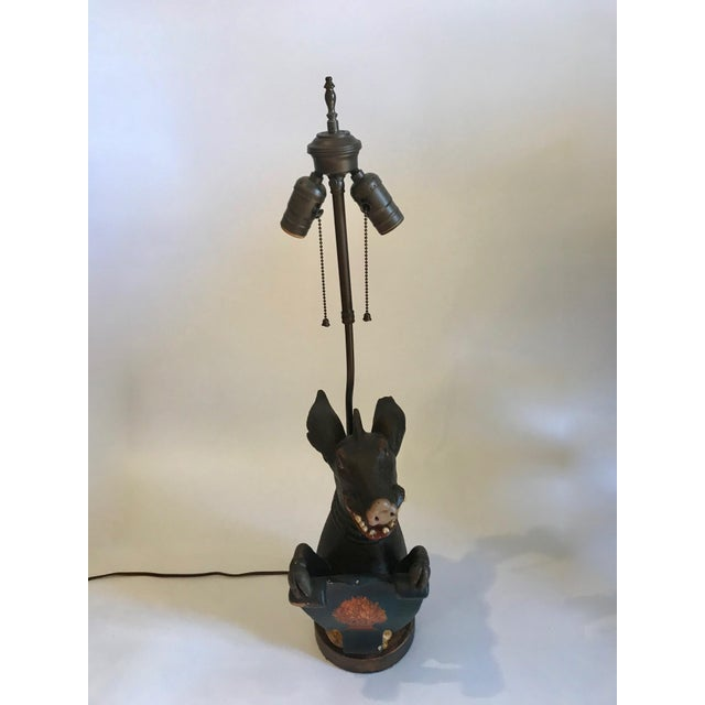Antique Carved Wood Wild Boar Figure Holding a Painted Shield Lamp For Sale - Image 13 of 13