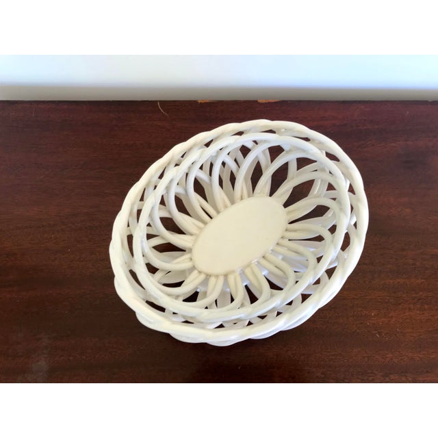 Mid 20th Century White Ceramic Open Weave Nesting Bowl Set - a Pair For Sale - Image 4 of 9