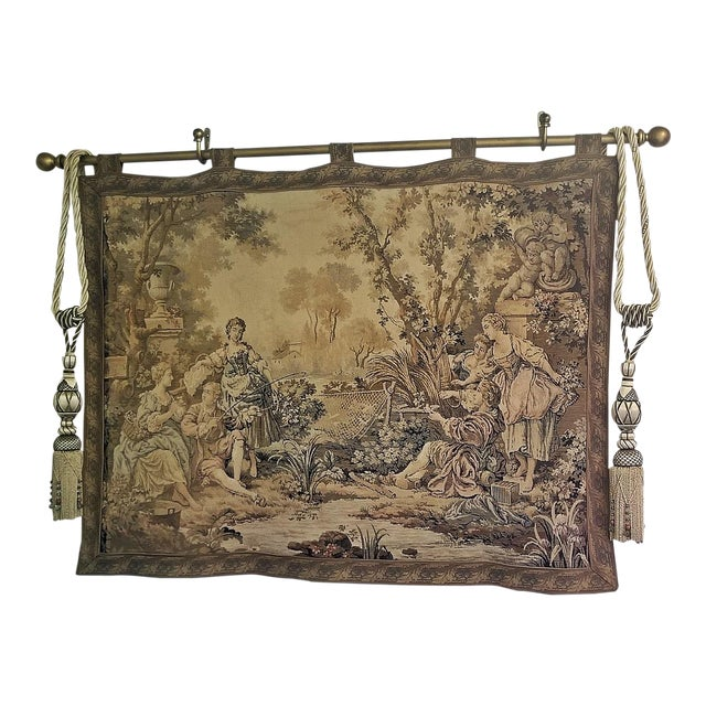 19c Flemish Wall Tapestry of Country Scene For Sale