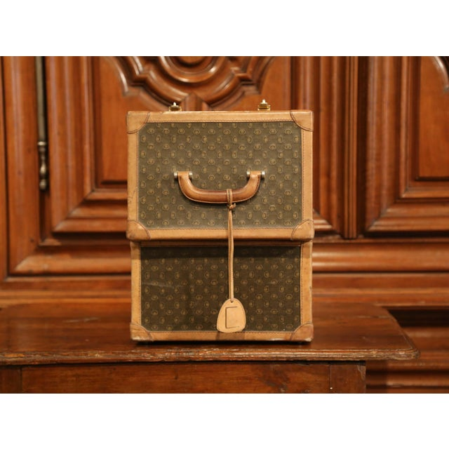 19th Century French Leather Toiletry Box With Decorative Trim and Brass Hardware For Sale - Image 11 of 13