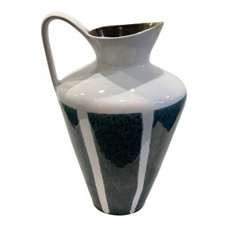 Vintage Glazed Green and White Pitcher/Vase For Sale