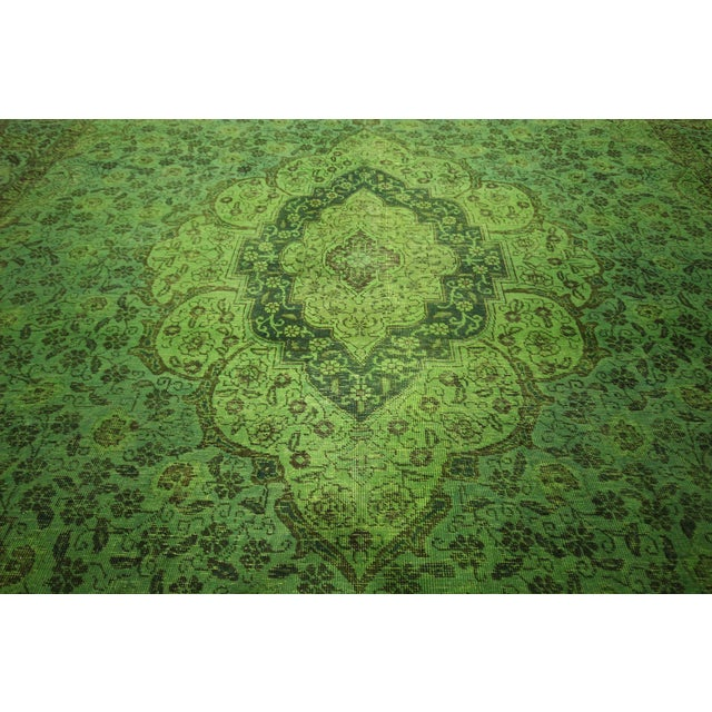"Lime Green Overdyed Tabriz Area Rug - 9'5"" x 12' - Image 8 of 10"