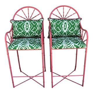 Bright Pink Iron Faux Bamboo Bar Stools- a - a Pair For Sale