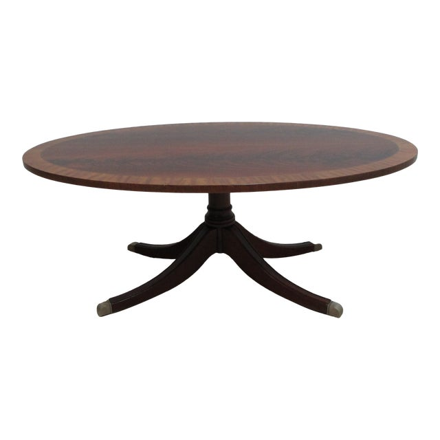 Ethan Allen Flame 18th Mahogany Oval Coffee Table Newport For Sale