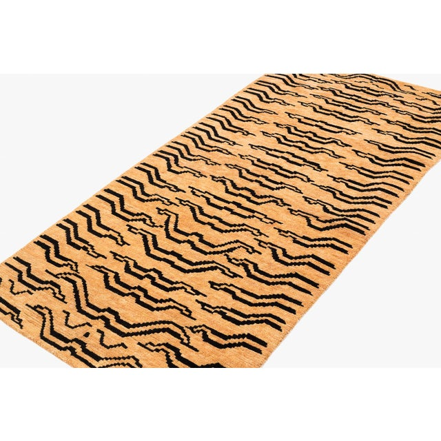 Black and Golden Tan Wool Tibetan Tiger Area Rug For Sale - Image 4 of 6