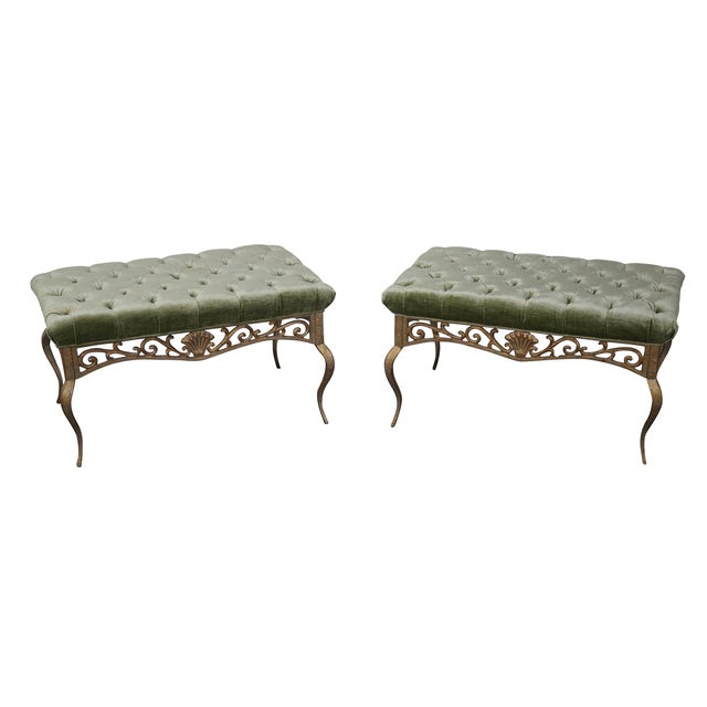 French Louis XV Gilt Metal Tufted Benches - Pair For Sale