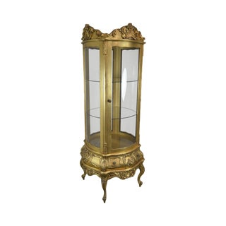 French Louis XV Style Vintage Gold Gilt Carved Round Curio Vitrine Cabinet For Sale