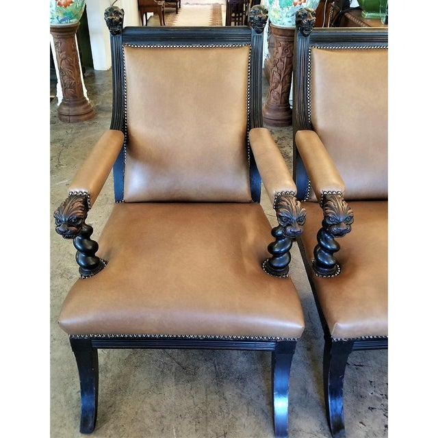 British Dark Walnut Library Chairs With Lions Heads - a Pair For Sale - Image 10 of 11
