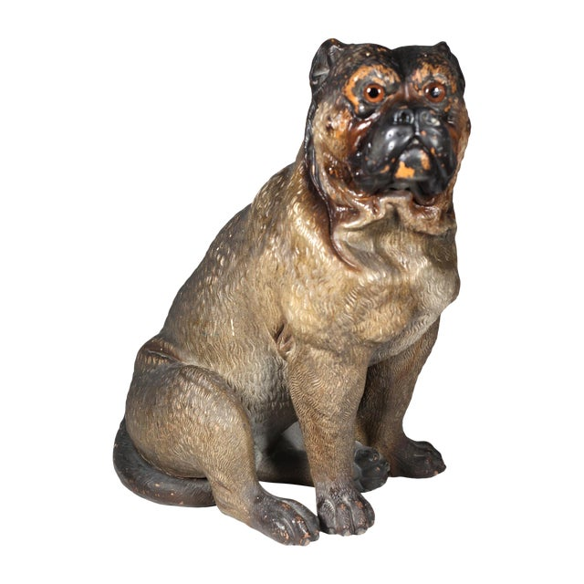 19th Century Austrian Cold Painted Terracota Dog - Image 1 of 3