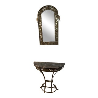 French Provincial Entry Way Mirror and Marble Table For Sale