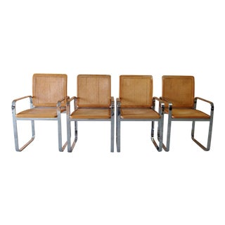 Vintage Modern Berkey Flat Chrome and Cane Dining Chairs - Set of 4 For Sale