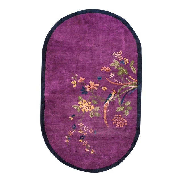 1920s Antique Purple Chinese Art Deco Rug- 4′3″ × 6′10″ For Sale