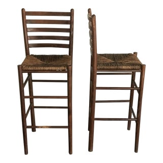 1950s Charlotte Perriand Style Italian Woven Rush Bar Stools - a Pair For Sale