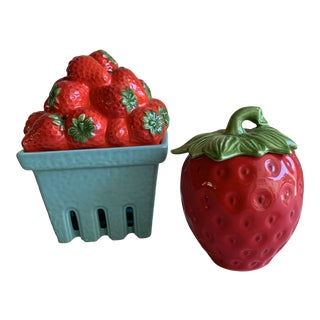 Whimsical Ceramic Strawberry Containers, Set of Two For Sale