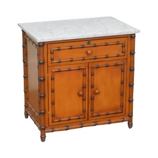 Williams Sonoma Home Victorian Style Faux Bamboo Marble Top Nightstand