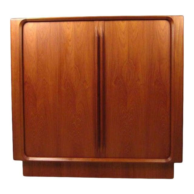 1970s Danish Modern Solid Teak Tamboured Door Storage Cabinet For Sale