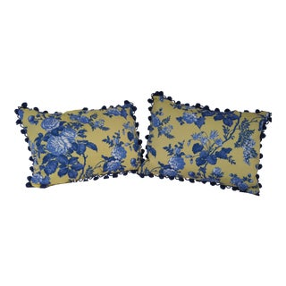 French Country Yellow, Blue & White Pillows- a Pair For Sale