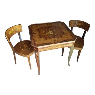 Handcrafted Italian Game Table & Chairs For Sale