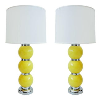 1970's Yellow Ball Lamps - Pair