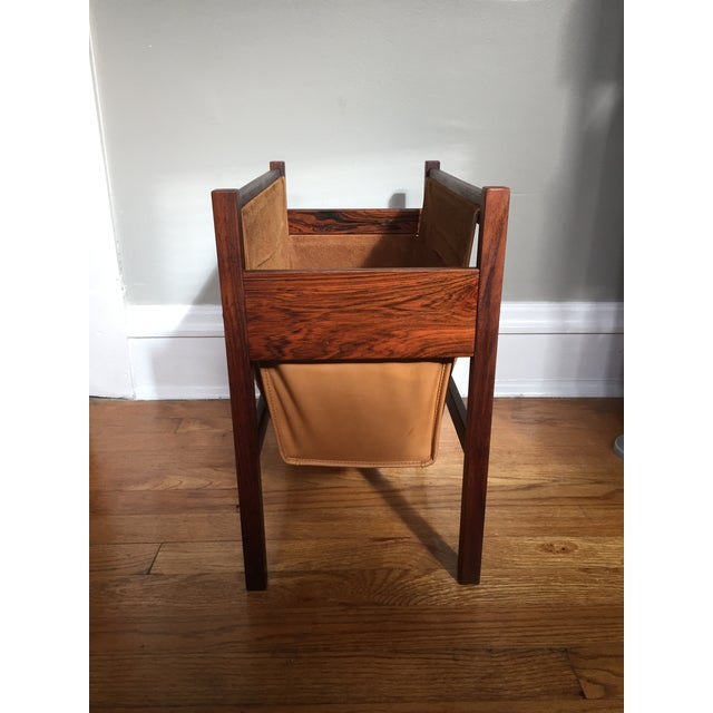 Danish Rosewood & Leather Magazine Rack - Image 5 of 11