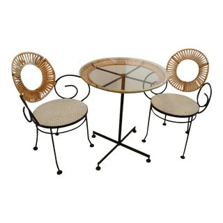 Shaver Howard Black Wrought Iron & Glass Bistro Set - 3 Pieces For Sale