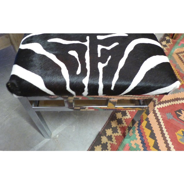 Chrome Zebra Hide Covered Mid-Century Bench For Sale - Image 7 of 7