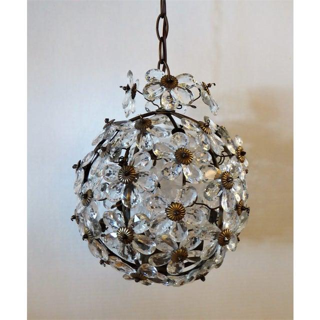 1920s Maison Baguès Floral Crystal Ball Form Chandelier, 1920s For Sale - Image 5 of 12