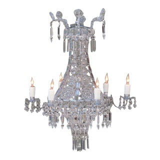 Early 20th Century Italian Neoclassical Crystal and Tole Chandelier