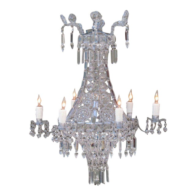 Early 20th Century Italian Neoclassical Crystal and Tole Chandelier For Sale