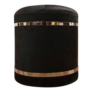 Hollywood Regency Black Hair on Hide Storage Stool