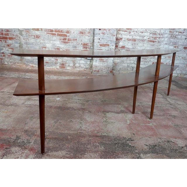Wood 1960s Mid-Century Modern Walnut Two Tier Curvy Console For Sale - Image 7 of 12
