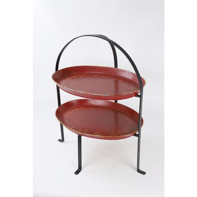 Farmhouse Vintage Curved Metal Tray Stand With Red Trays For Sale - Image 3 of 8