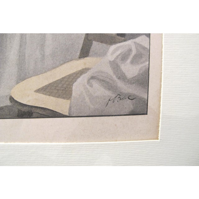 This lithograph is representing a woman lifestyle behind closed doors, in her boudoir, which was a woman private space in...