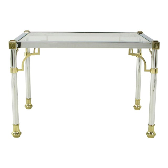Chrome & Brass Regency Style End Table For Sale