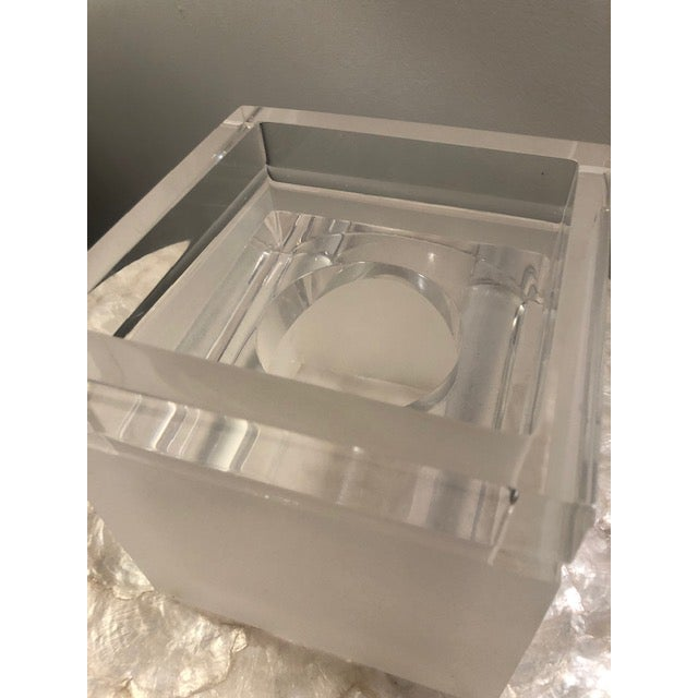 2010s Frosted Lucite Tissue Box For Sale - Image 5 of 6