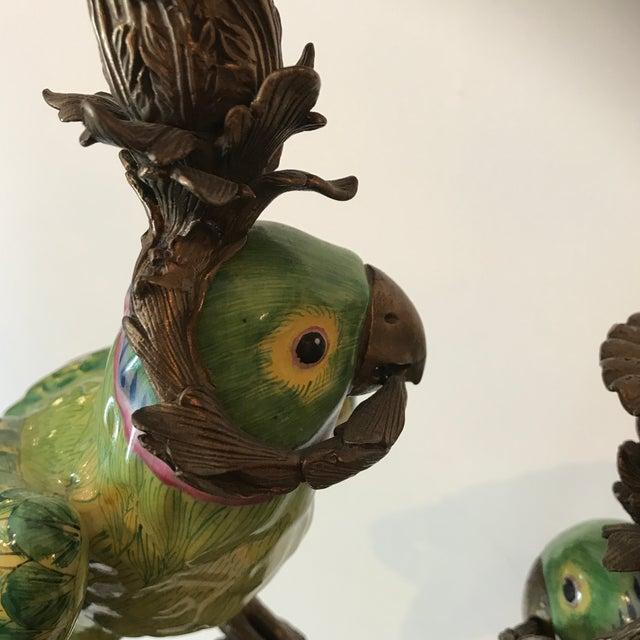 1960s Vintage Bronze Figural Parakeets Candelabra For Sale - Image 11 of 12