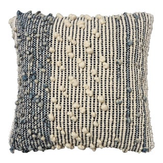Hand Woven Cream & Blue Pillow