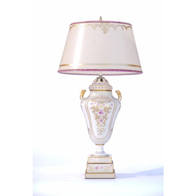 20th C. French Painted Porcelain Urn Lamps For Sale - Image 4 of 5
