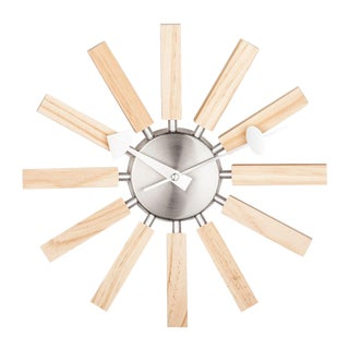 George Nelson Inspired 1947 Mid Century Modern Wall Block Clock For Sale