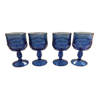 Vintage Tiffin Light Cobalt Blue King's Crown Cordial Glasses - Set of 4