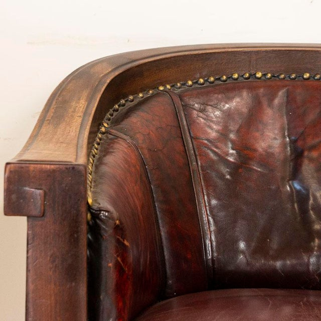 Vintage Leather Sofa and Arm Chairs - Set of 3 For Sale - Image 9 of 11