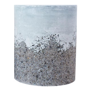 Hand Made Grey Agate and Light Blue Plaster Drum, Side Table by Samuel Amoia For Sale