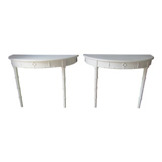 1960s Boho Chic Demi Lune Faux Bamboo Console or Side Tables - a Pair For Sale