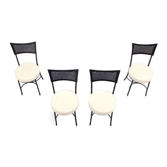 Cast Aluminum Faux Bamboo and Cane Round Seat Chairs - Set of 4 For Sale - Image 4 of 11
