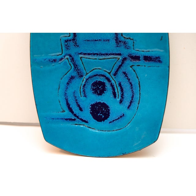 Mid-Century Modern Mid Century Modern Blue Enameled Plate For Sale - Image 3 of 5