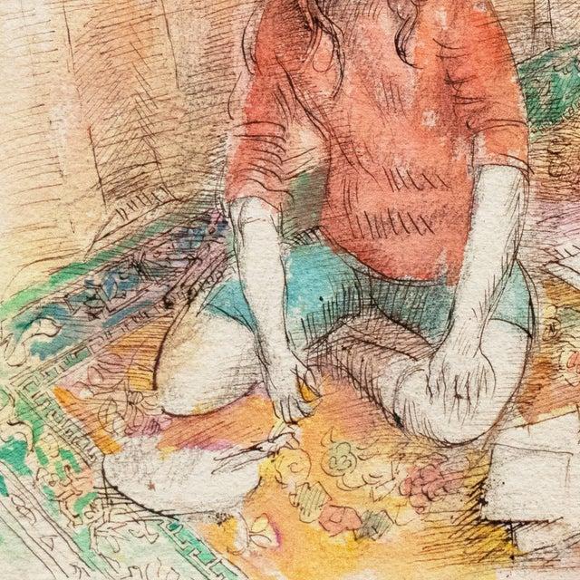 1950s 'Jeudi à La Maison' by Lucien Philippe Moretti, French Post-Impressionist, Ecole Des Beaux-Arts For Sale - Image 5 of 10
