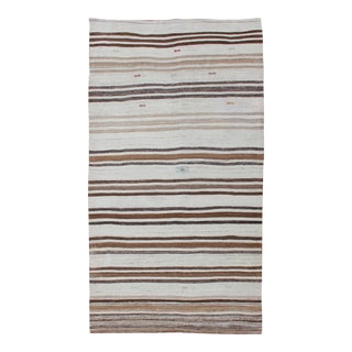 Striped Turkish Vintage Kilim Flat-Weave Rug in Shades of Browns Taupe and Ivory For Sale