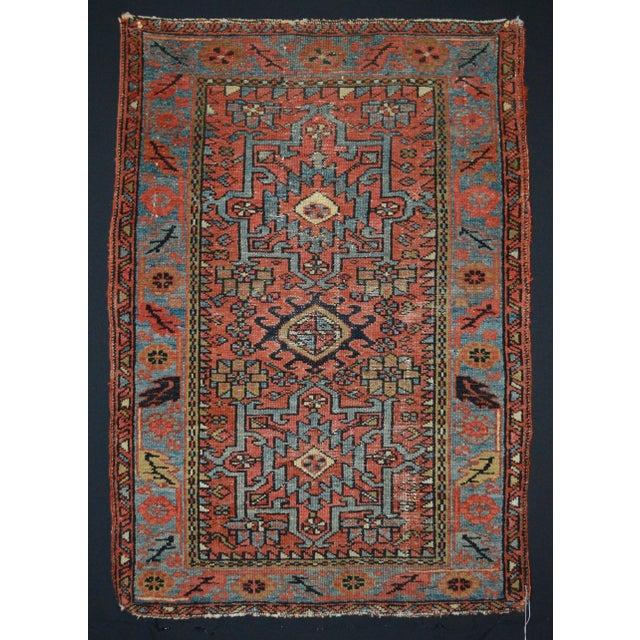 "Antique Persian Karaja Rug - 3'1"" x 4'3"" For Sale - Image 11 of 11"