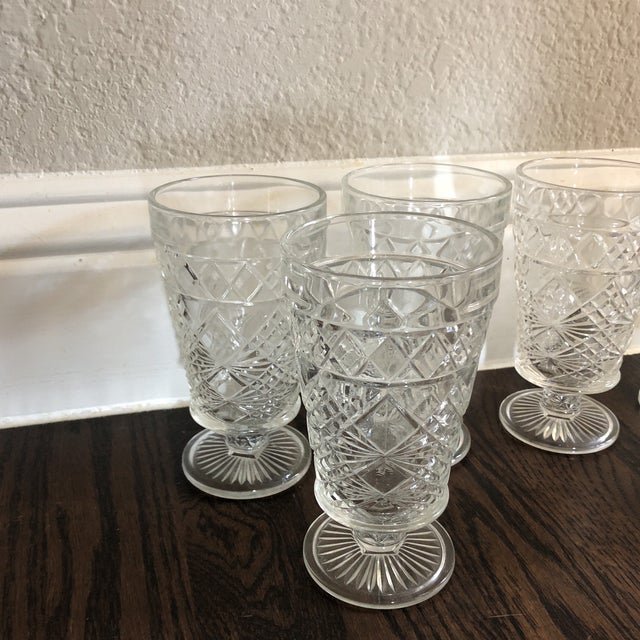 A great set of 6 cut glass water goblets. Not much to say except they are practical, wear well and you can always add...
