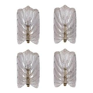 Orrefors Crystal Leaf Sconces - a Pair For Sale
